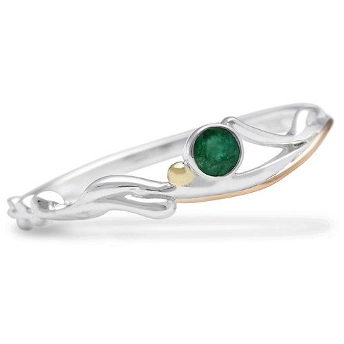 Emerald Slim silver ring