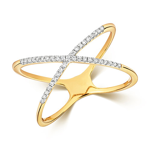 Diamond and Yellow Gold X ring