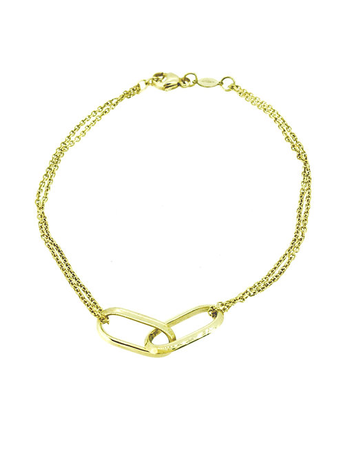Double Link Two Row Gold bracelet