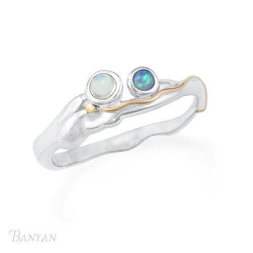 Opalite and Moonstone silver ring