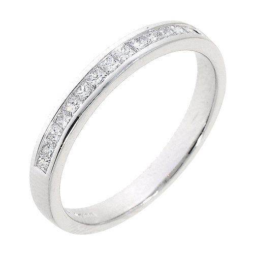 Diamond princess cut channel set ring