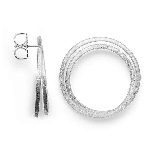 Twin circle silver earrings