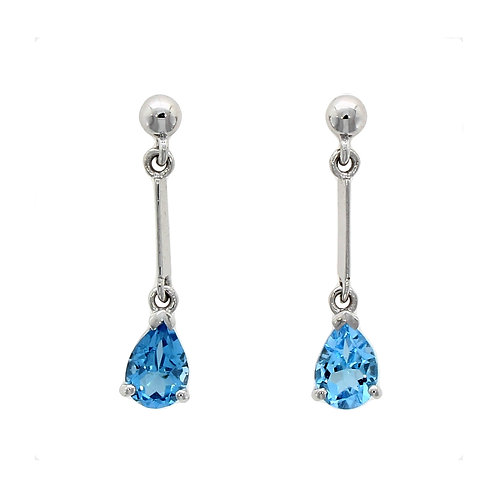 Blue topaz bar drop earrings