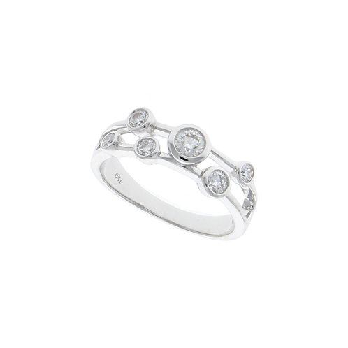 Two strand Diamond bubble 18ct white gold ring
