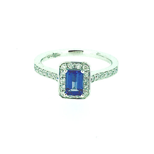 Tanzanite and Diamond pave cluster white gold ring