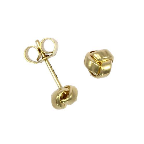 Three row gold knot earrings