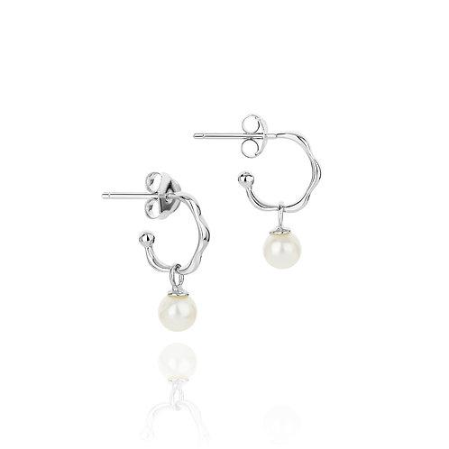 Dreamcatcher simple pearl hoop earring