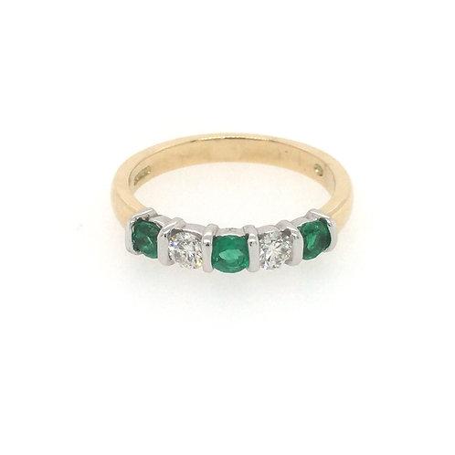 Emerald and Diamond Bar set 18ct Gold Eternity ring