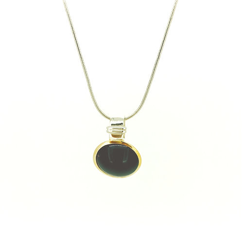 Garnet large Gold plated silver pendant