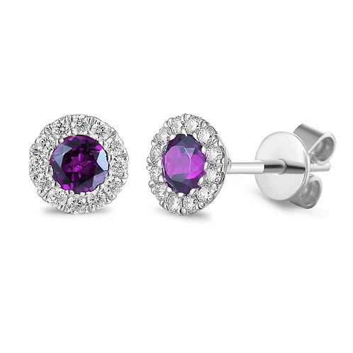 Amethyst and Diamond halo white gold earrings