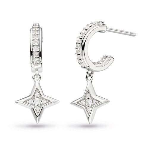 Empire Astoria starburst cubic zirconia semi hoop stud drop earrings