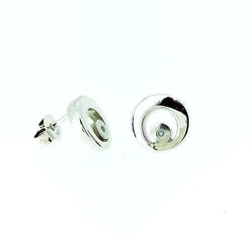 Polished Circle with Diamond stud earrings