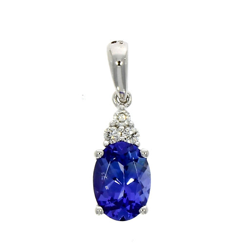 Tanzanite and diamond trefoil necklace on chain