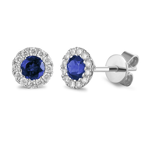 Sapphire and Diamond halo white gold earrings