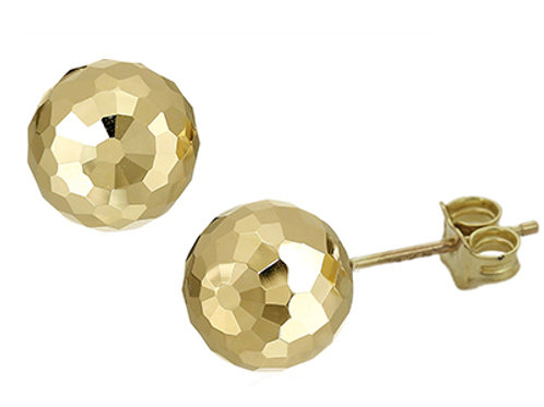Gold diamond cut ball stud earrings