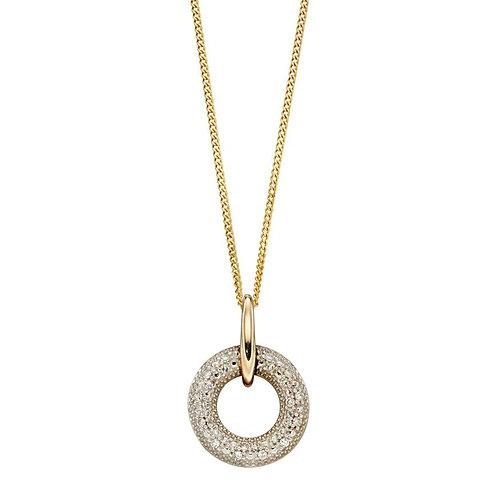 Diamond Open Circle Yellow Gold pendant and chain