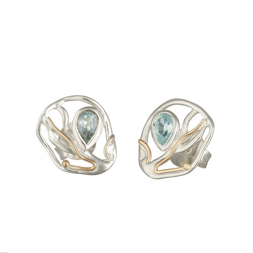 Blue Topaz Flow silver stud earrings