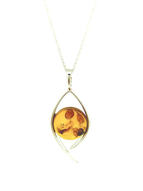 Amber Open Swirl Silver pendant on chain