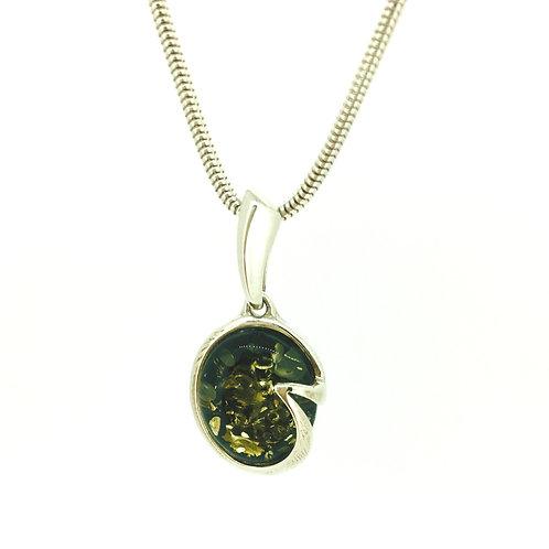 Green Amber Silver pendant