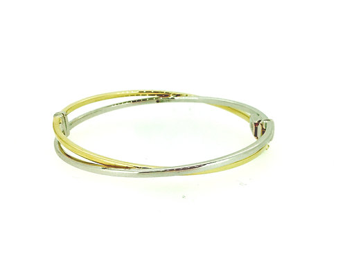 Two Colour Gold Cross-over solid hinged bangle
