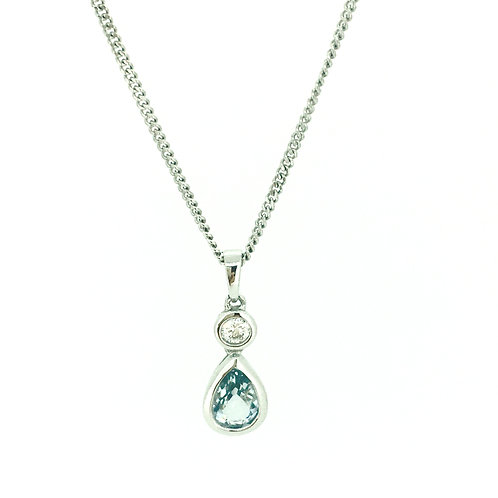 Aquamarine and Diamond white gold pendant