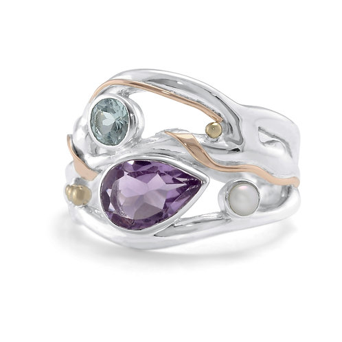 Amethyst, Blue Topaz and Pearl statement ring