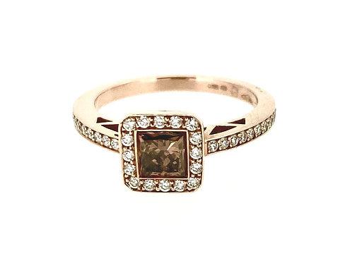 Chocolate Diamond Halo Rose Gold ring