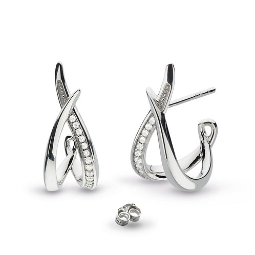 Entwine Twine Twist CZ Pavé Hoop Earrings