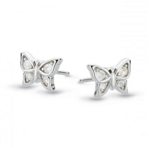 Blossom Flyte Butterfly white topaz silver stud earrings