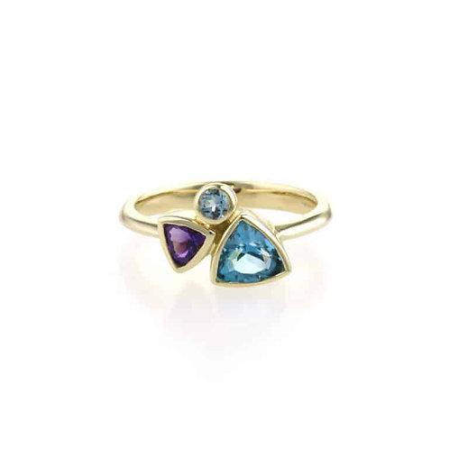 Multistone 9ct white gold ring