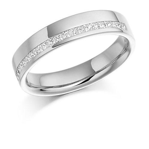 Offset Princess cut Diamond half Eternity ring