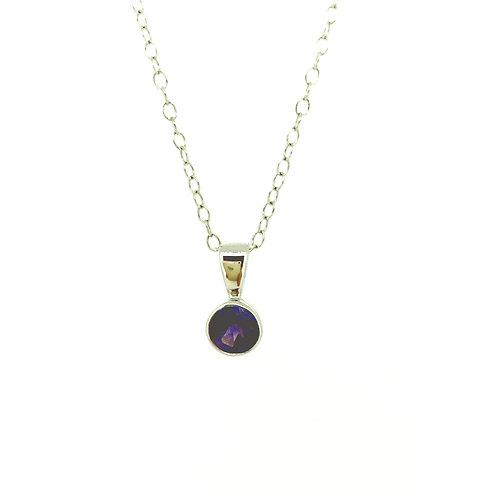 Amethyst white gold pendant