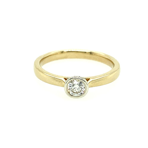 Diamond 0.24ct and 9ct Gold rub-over setting solitaire ring