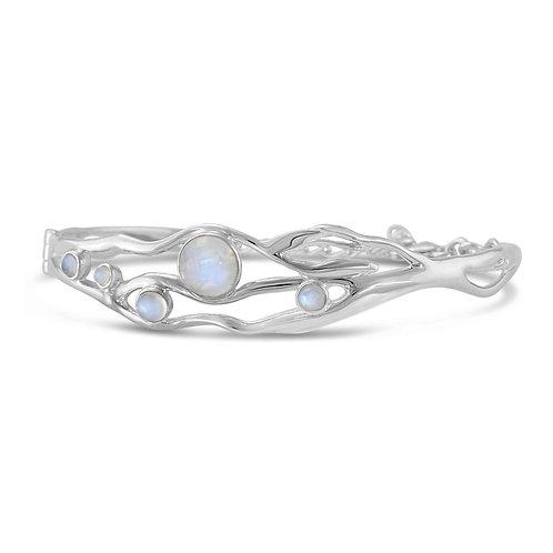 Moonstone Silver hinged bangle