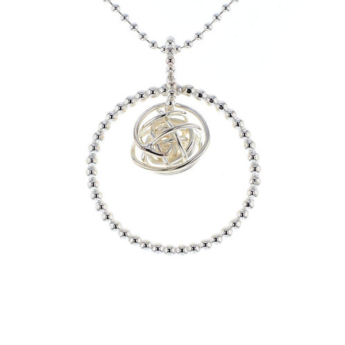 Silver pearl wire ring pendant