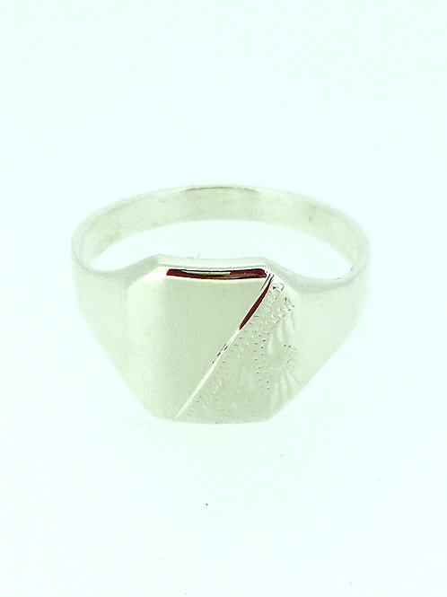 Engraved Sterling Silver Signet ring