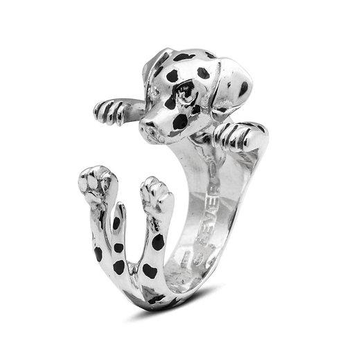 Silver Dalmatian hug ring