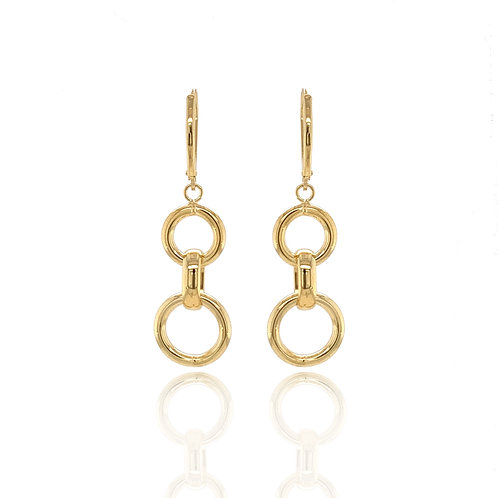 Circle Drop gold earrings