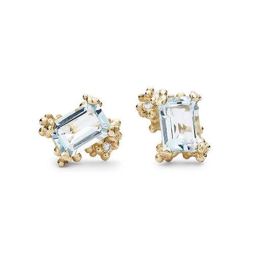 Emerald cut Aquamarine and Diamond studs