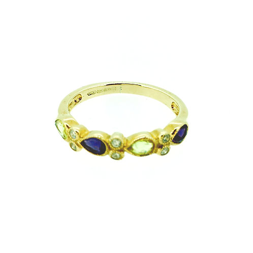 Amethyst, Peridot and Diamond gold ring.