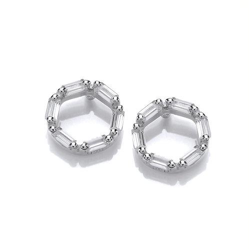 Cubic Zirconia Silver Circle stud earrings