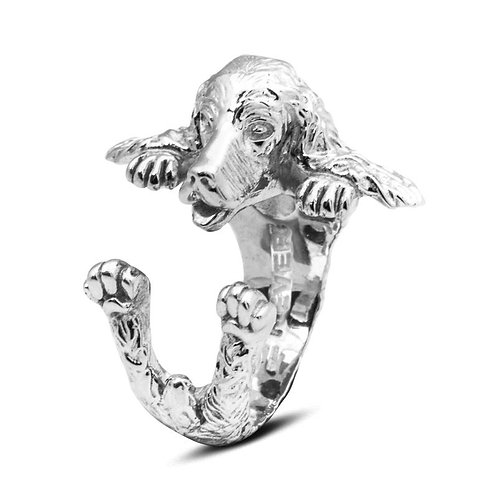 Silver English Cocker Spaniel hug ring