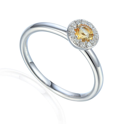 Citrine and Diamond halo white gold ring