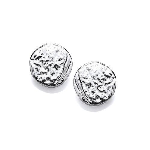 Dappled Silver Stud Earrings