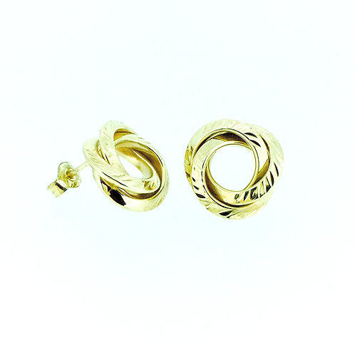 Large open textured gold knot stud earrings
