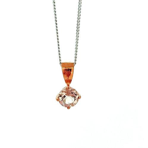 Morganite round Rose gold pendant