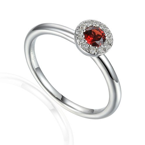 Red Garnet and Diamond halo ring