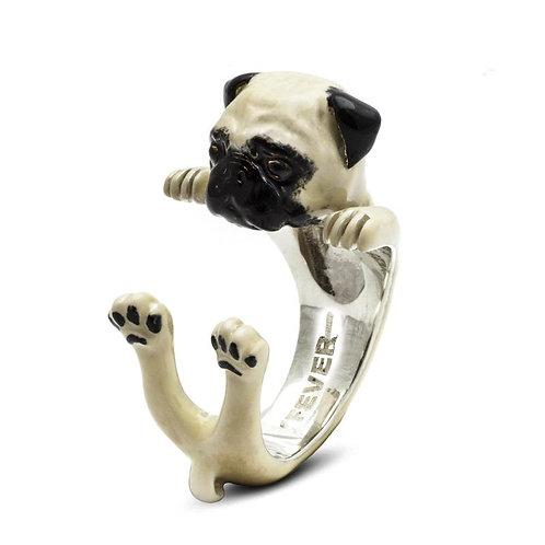 Silver enamelled Pug hug ring