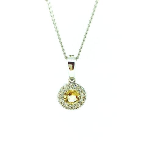 Citrine and Diamond halo white gold pendant on chain