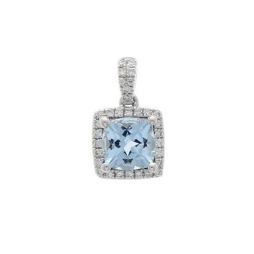 Aquamarine and Diamond cushion 18ct white gold pendant with chain